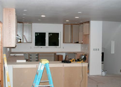 Kitchen Being Remodeled With Cabinets
